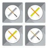 Ołówek z władcą dla ikony na białym tle Przedmiot ikony narzędziowy projekt Obrazy Stock