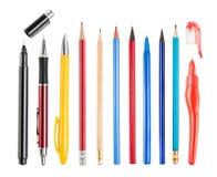 Ołówka i pióra kolekcja odizolowywająca Obraz Stock