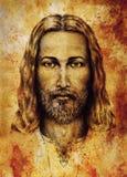 Ołówka rysunek Jezus na rocznika papierze z ornamentem na odzieży Stary sepiowy struktura papier Kontakt wzrokowy spiritual ilustracja wektor