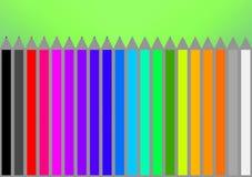 Ołówki czernią, czerwień, kolor żółty, pomarańcze, biel, szarość, błękit, zieleń, pi Obrazy Stock