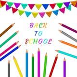 Ołówki, flaga szkoła, z powrotem Zdjęcia Stock