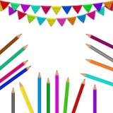 Ołówki, flaga tło Zdjęcia Royalty Free