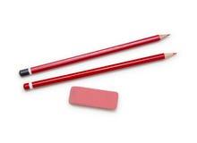 Ołówki i gumka odizolowywający na bielu Obrazy Stock