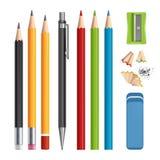 ołówki ustawiają Materiałów narzędzia ostrzą, barwili, drewnianych ołówki z gumowymi wektorowymi realistycznymi ilustracjami odiz royalty ilustracja