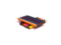 Ołówki wszystko barwią na białym tle Obrazy Stock