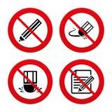 Ołówkowa ikona Redaguje dokument Gumka znak Fotografia Royalty Free