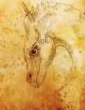Ołówkowego rysunku smok i Sepiowy koloru abstrakta tło Fotografia Stock