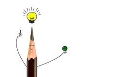 Ołówkowy ono uśmiecha się i żarówka Pojęcie pomysł jest Zdjęcia Stock