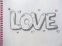 Ołówkowy rysunek na papierze, miłość, Fotografia Stock