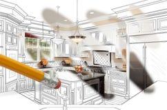 Ołówkowy Wymazuje Rysować Wyjawiać Skończonego Obyczajowego Kuchennego projekt zdjęcie royalty free