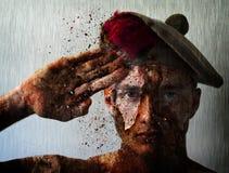 Żołnierz chłopiec Wojenny salut Zdjęcia Stock