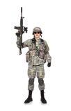 Żołnierz podnosił jego karabin up Zdjęcia Royalty Free
