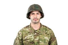 Żołnierz pozycja na białym tle Fotografia Stock