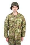 Żołnierz pozycja na białym tle Obraz Royalty Free