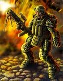 Żołnierz przyszłość Nauki fikci oryginału charakter ilustracja wektor