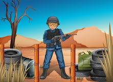 Żołnierz w polu bitwy ilustracji