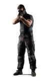 Żołnierz z snajperskiego karabinu celowaniem odizolowywającym na bielu Obraz Royalty Free