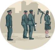 Żołnierza Bagpiper wmarszu okręgu akwarela ilustracji