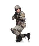 Żołnierza celowanie Z karabinem Zdjęcia Royalty Free