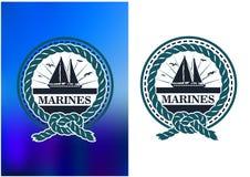 Żołnierza piechoty morskiej okręgu emblemat, logo w retro stylu Zdjęcia Stock