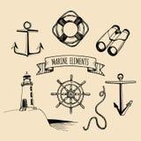 Żołnierza piechoty morskiej set Wektorowi nautyczni elementy Ręka kreślił denne ilustracje Morska projekt kolekcja Morskie rysunk royalty ilustracja