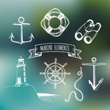 Żołnierza piechoty morskiej set Wektorowi nautyczni elementy Ręka kreślił denne ilustracje Morska projekt kolekcja Morskie rysunk Obraz Stock