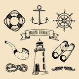 Żołnierza piechoty morskiej set Wektorowi nautyczni elementy Ręka kreślił denne ilustracje Morska projekt kolekcja Morskie rysunk Obraz Royalty Free