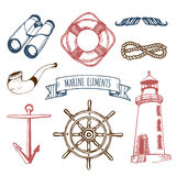 Żołnierza piechoty morskiej set Wektorowi nautyczni elementy Ręka kreślił denne ilustracje Morska projekt kolekcja Morskie rysunk Fotografia Royalty Free