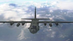Żołnierza piechoty morskiej transportu samolot lata above chmury royalty ilustracja