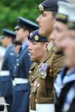 Żołnierze, żeglarzi i lotnicy na paradzie, zdjęcie royalty free