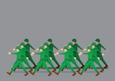 Żołnierze Maszeruje w Militarnej paradzie ilustracja wektor