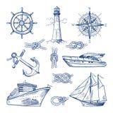 Żołnierzy piechoty morskiej doodles ustawiają z statkami, łodziami i nautycznymi kotwicami, Wektorowe ilustracje w ręka rysującym ilustracji