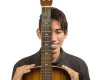 Ołowiany gitarzysta Odizolowywający fotografia royalty free