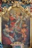 Ołtarz świętego Joseph patron szczęśliwa śmierć w kościół narodziny maryja dziewica w Svetice, Chorwacja obrazy stock
