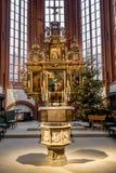 Ołtarz grodzki kościelny Bayreuth i chrzcielnica Obrazy Royalty Free