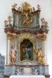 Ołtarz St Paul eremita w kościół Niepokalany poczęcie w Lepoglava, Chorwacja Zdjęcia Royalty Free