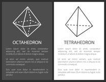 Ośmiościanu i czworościanu kształtów Geometryczna postać royalty ilustracja