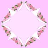 Ośmioboczna rama na tle róże z liśćmi różni rozmiary z przestrzenią dla teksta _ Fotografia Stock