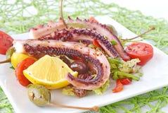 Ośmiornica gotująca w oliwa z oliwek z oliwkami, oregano, pomidory, kapary, cytryna na bielu talerzu zdrowe jeść Zdjęcia Stock