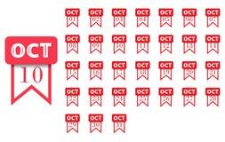 ośmiornica Kalendarzowa ikona dla każdy dnia miesiąc Mieszkanie styl również zwrócić corel ilustracji wektora royalty ilustracja