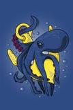 Ośmiornica potwór zawijał statek kotwicę pod wodą Zdjęcia Stock