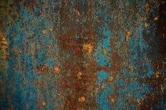 Ośniedziała kruszcowa nawierzchniowa błękitna farba obraz stock