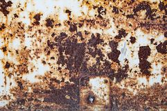 Ośniedziała plama na metalu talerzu Tło tekstura żelazo obrazy stock