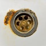 Ośniedziała rynsztokowa dziura w łazience Obraz Royalty Free