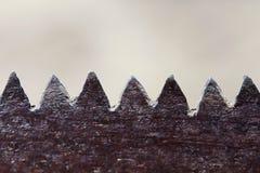 Ośniedziałe stare metali zębów piły Fotografia Stock