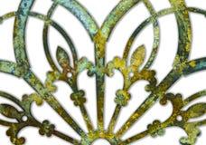 Ośniedziałego żelaznego grunge lacey zieleń i żółtego metalu projekt odizolowywający na bielu z cienia tłem zdjęcia royalty free