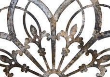 Ośniedziałego żelaznego grunge metalu koronkowa dekoracja odizolowywająca na bielu obrazy royalty free
