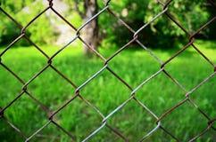 Ośniedziały brown i popielaty ogrodzenie Fotografia Royalty Free