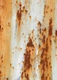Ośniedziały metalu tło z starej krakingowej farby tekstury kwadrata pomarańczowym białym brown szorstkim kształtem Obraz Stock