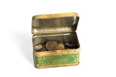 ośniedziały moneta pudełkowaty metal Obraz Stock